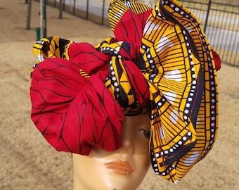 Red African Head wrap; Red African Headwrap; African Clothing; African Fabric Headwrap; African Scarf; Fabric Headwrap: Headwrap; Head tie