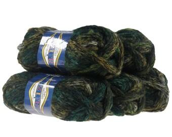 5 x 100g scarf yarn/caps wool country new #5566, green-khaki-Black