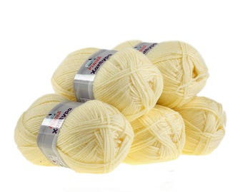 5 x 100 g yarn Orla #462 vanilla, knitting wool, wool, hand Knitting yarn