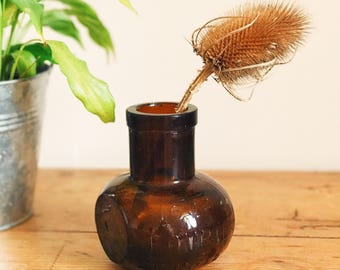 Vintage glass vase, Bovril Jar, 16oz, Vintage Bovril Jar, Antique vase