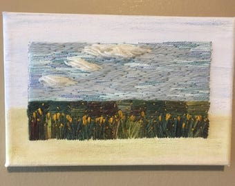 Embroidered Prairie landscape hand embroidered canvas, framed art, modern embroidery landscape art one of a kind fibre art