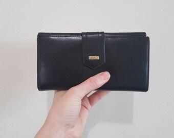 Gorgeous Vintage leather Wallet • Vintage Wallet • Vintage black wallet • Leather wallet • Expanding wallet •