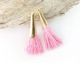 2pc 45mm Beautiful Pink Tassel in Gold Cone Cap