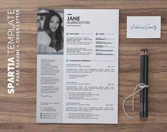 Modern CV template /Modern Resume Template, Word Resume Design + Cover Letter, Modern Curriculum Vitae, Instant Download | Spartia