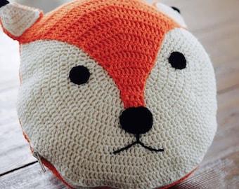 Crochet fox pillow cushion Handmade