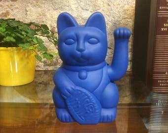 Maneki Neko / Lucky Cat / Waving Cat in 2 Sizes – Electric Blue