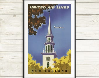 Vintage New England poster, united airlines, vintage art prints, vintage travel posters, travel poster set, travel poster reproductions