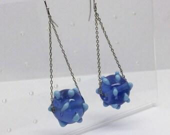 sterling silver lampwork glass bead earrings #451