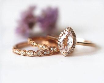 Solid 14K rose gold bridal set Marquise Morganite Engagement Ring Wedding Ring Morganite Wedding Ring Promise Ring unique morganite ring set
