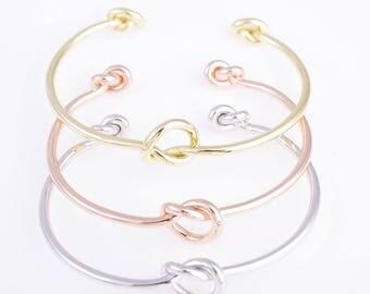 Knot bracelet,three knot bracelet,bridesmaid knot bracelet,tie the knot bracelet,bridesmaid gift