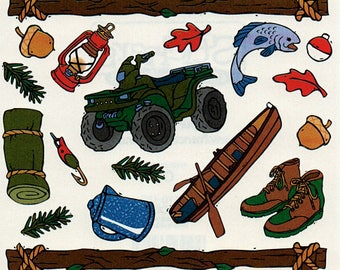 Camping Outdoors Frances Meyer Scrapbook Stickers Embellishments Cardmaking Crafts 4x4 Inch Sheet