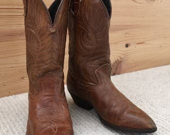 Vintage Kids Boys Distressed Brown Leather Cowboy Boots
