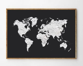 World Map Print, Poster, Instant Digital Download, Gift, Marble, Minimal, Printable Art, Modern Design