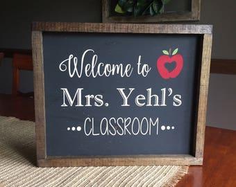 Wooden framed teacher sign
