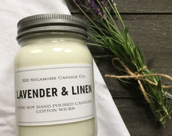 16 oz. Lavender & Linen Pure Soy Candle with Cotton Wick