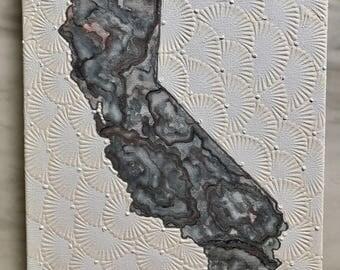 Gray California with white Pisanki textured background