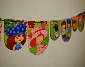 STRAWBERRY SHORTCAKE Bunting Kids Birthday Banner Girls Birthday Decor Girls Birthday Banner Birthday Bunting Nursery Room Decor Party Decor