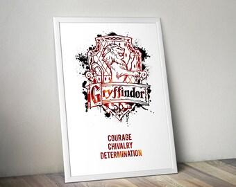 Gryffindor,House,Traits, Print, Poster, Fan Art, Harry Potter, Crest, Hogwarts, Lion,Birthday, Ravenclaw, Hufflepuff, Slytherin,