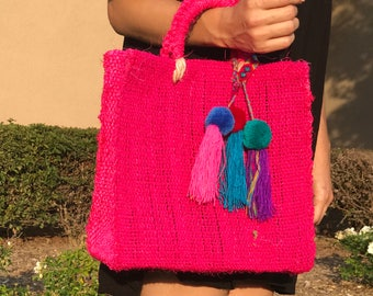 Jute bag, mexican handwoven jute bag, summer bag, mexican bag, handmade bag, beach bag, made in mexico, pom pom bag