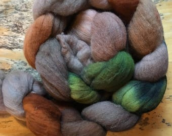 misty forest walk, Hand-dyed Merino wool Roving
