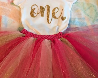 Baby Girl First Birthday Onesie & Tutu Set