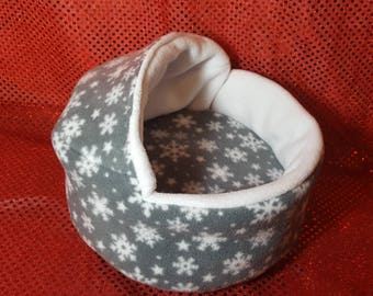Christmas Piggie Pod Bed for Guinea Pigs- Grey Snowflake Fleece CUSTOM ORDER