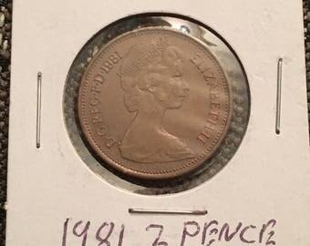 1981 UK 2 pence