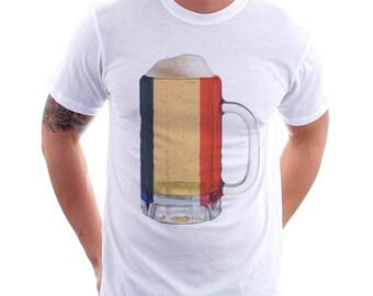 France Country Flag Beer Mug Tee, Home Tee, Country Pride, Country Tee, Beer Tee, Beer T-Shirt, Beer Thinkers, Beer Lovers Tee, Fun Tee