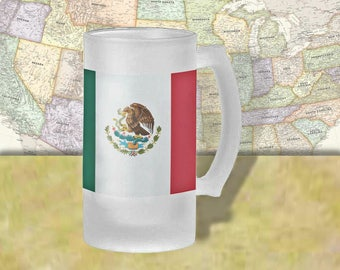 Mexico Flag Beer Mug, Beer Stein, Country Flag, Country Pride, Beer Glass, 16 oz., Frosted Mug, Beer Thinkers, Beer Lovers, Cold Beer