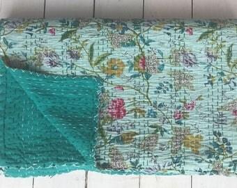 AMELIE - Aqua Ditsy Printed Kingsize Kantha Handstitched Blanket