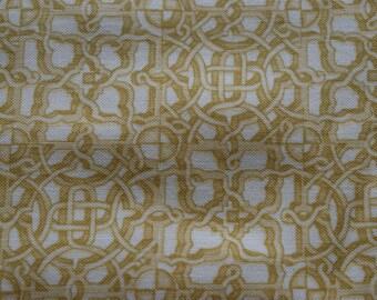 geometric fabric, hampton court, makower uk, gold fabric, celtic knot fabric,  quilting fabric, sewing fabric, cotton