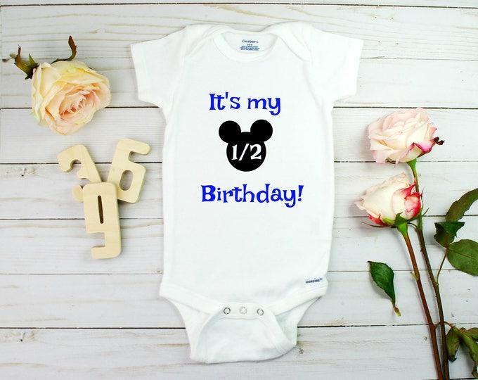 Half Birthday/ Custom Onesie/ half birthday / half birthday onesie for boys / half birthday onesies / half birthday announcement / onesies