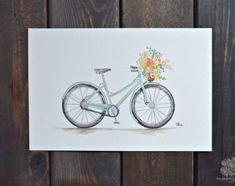 Spring Bike | Hand Painted Print