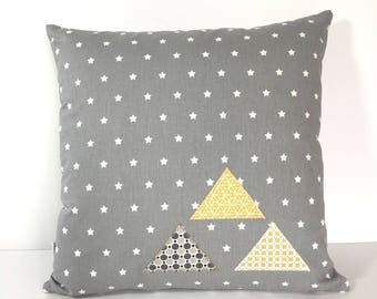 Square cushion removable grey star appliqué triangles and white