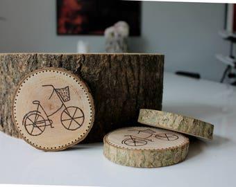 Wood Burned Bicycle Coaster Set