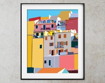 Cinque Terre print Manarola Colorful art Italy Cinque Terre Printable art Colorful wall art Riomaggiore Cinque Terre images Architecture art