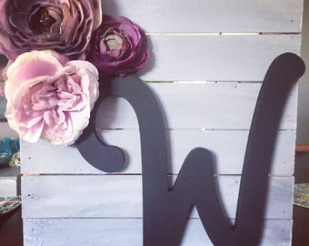 Letter W home decor, house warming gift, rustic letter, gray, purple