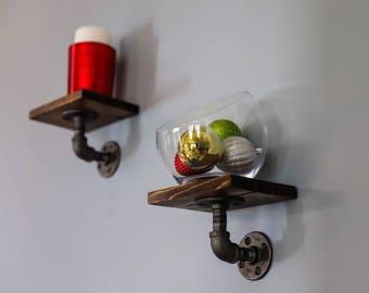 custom industrial pipe and wood shelves small shelf rustic restoration hardware