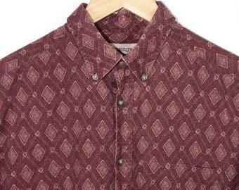 tribal print long sleeve button down shirt - vintage - mungsingwear - mens medium