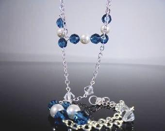Green Blue Swarovski Crystal Necklace, Aqua Green Crystal Necklace, Aqua Crystal Necklace, Green Blue Dainty Necklace,Aqua Swarovski