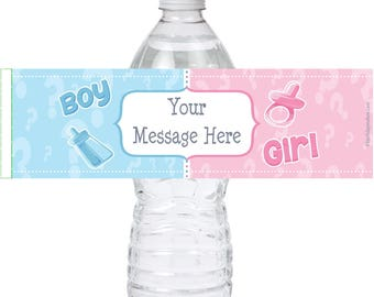Personalized Gender Reveal Water bottle labels self adhesive