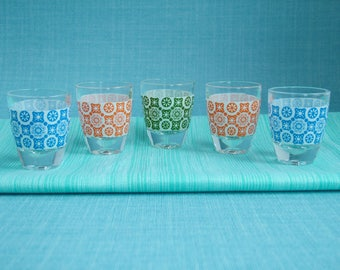 Retro 1960s1970s Patterned French Liqueur Drinking Glasses