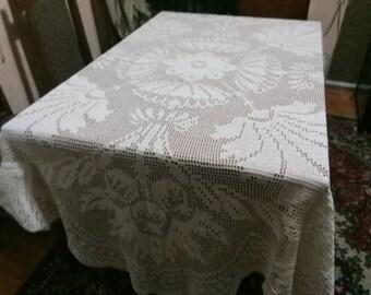 Vintage Lace Tablecloth, Vintage Table Linens, Crochet Lace
