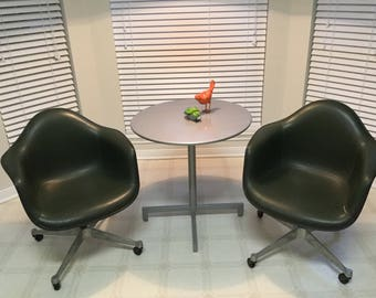 Pair Vintage Herman Miller Eames Rolling Fiberglass Shell Arm Chairs
