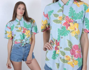 90s Hawaiian Blouse // Vintage Blue Floral Collared Button Up Top Womens - Small