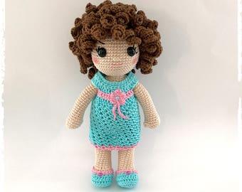 Audrey Doll, doll curly crochet