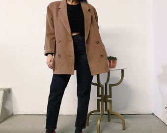 vintage 80s Camel wool double breast coat // Small