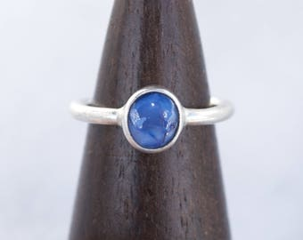 Natural Blue Sapphire Cabochon Ring in Argentium Silver