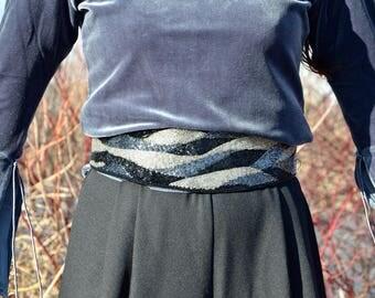 80s Hand Beaded Belt, Black and Silver Glass Bead Cummerbund, Metallic Glitter Belt
