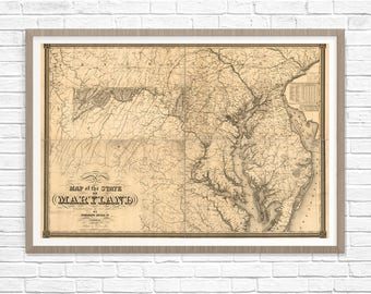 Maryland Map, Antique Map, Maryland Poster Map, Old Map of Maryland, 1841 Print Map, Maryland Art,Maryland Wall Art